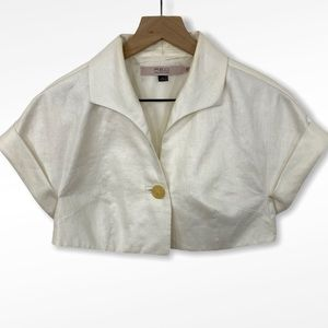 Red Valentino White Coated Linen Cropped Jacket